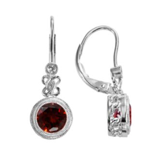 Sterling Silver Garnet and Lab-Created White Sapphire Drop Earrings