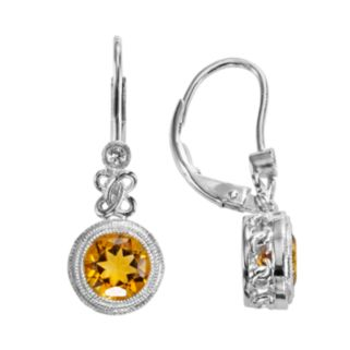 Sterling Silver Citrine and Lab-Created White Sapphire Drop Earrings