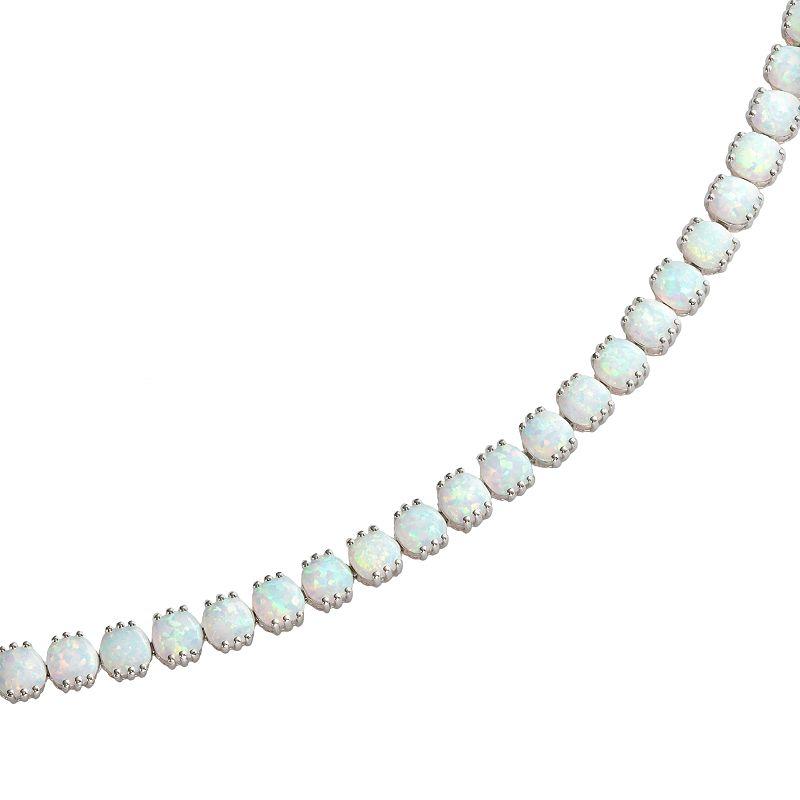"Sterling Silver Lab-Created Opal Bracelet, Women's, Size: 7.5"", White"