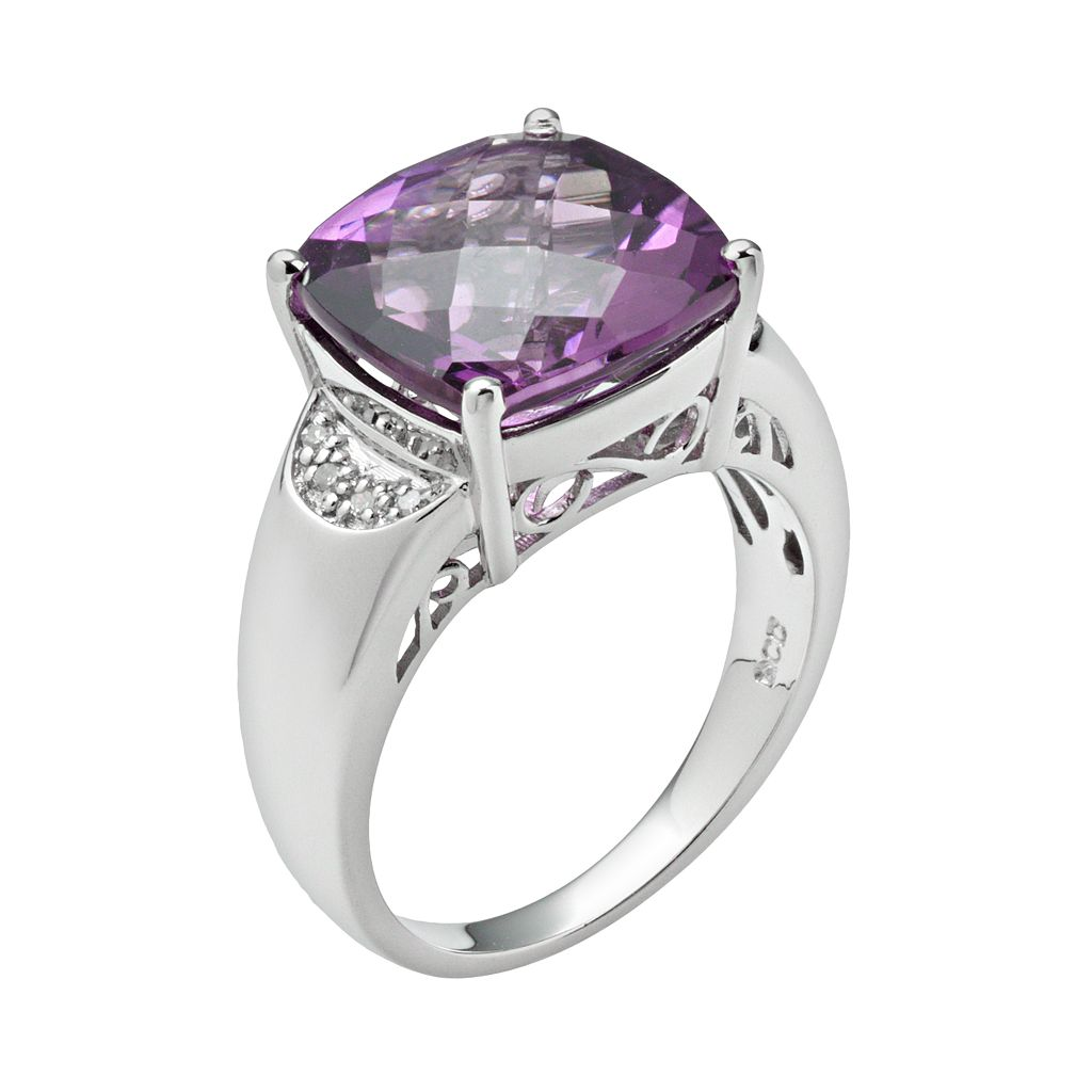 Sterling Silver Amethyst and Diamond Accent Ring