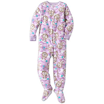 Jumping Beans Camouflage and Monkey Microfleece Footed Pajamas - Girls