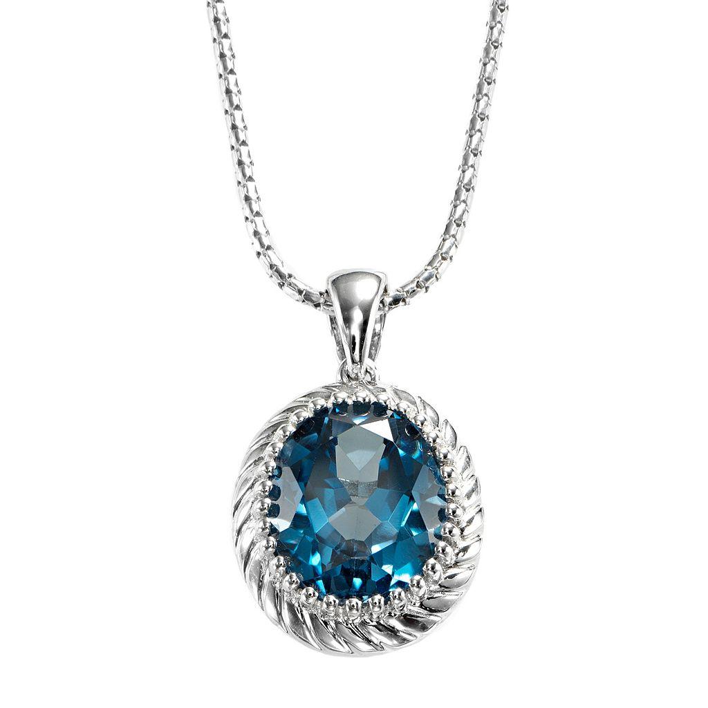 Sterling Silver London Blue Topaz Pendant