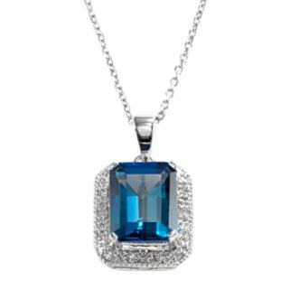 Sterling Silver London Blue Topaz and Diamond Accent Pendant