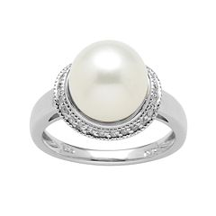 Sterling Silver 1/10-ct. T.W. Diamond & Freshwater Cultured Pearl Ring
