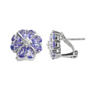 Sterling Silver Tanzanite and Diamond Accent Flower Stud Earrings