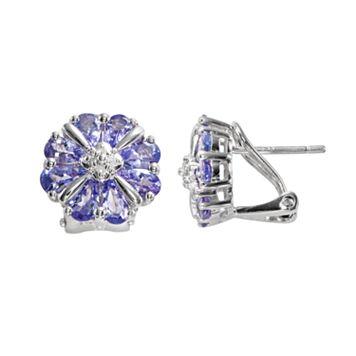 Sterling Silver Tanzanite & Diamond Accent Flower Stud Earrings