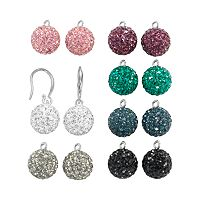 Sterling Silver Crystal Interchangeable Drop Earring Set