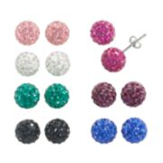 Sterling Silver Crystal Stud Earring Set