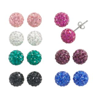 Sterling Silver Crystal Stud Earring Set