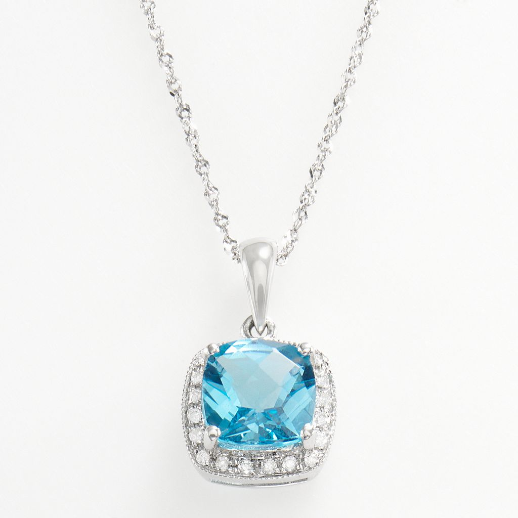 14k White Gold Blue Topaz & Diamond Accent Frame Pendant
