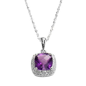 14k White Gold Amethyst & Diamond Accent Frame Pendant