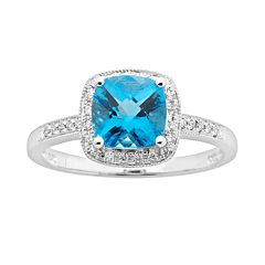14k White Gold 1/8 ctT.W. Diamond & Blue Topaz Frame Ring