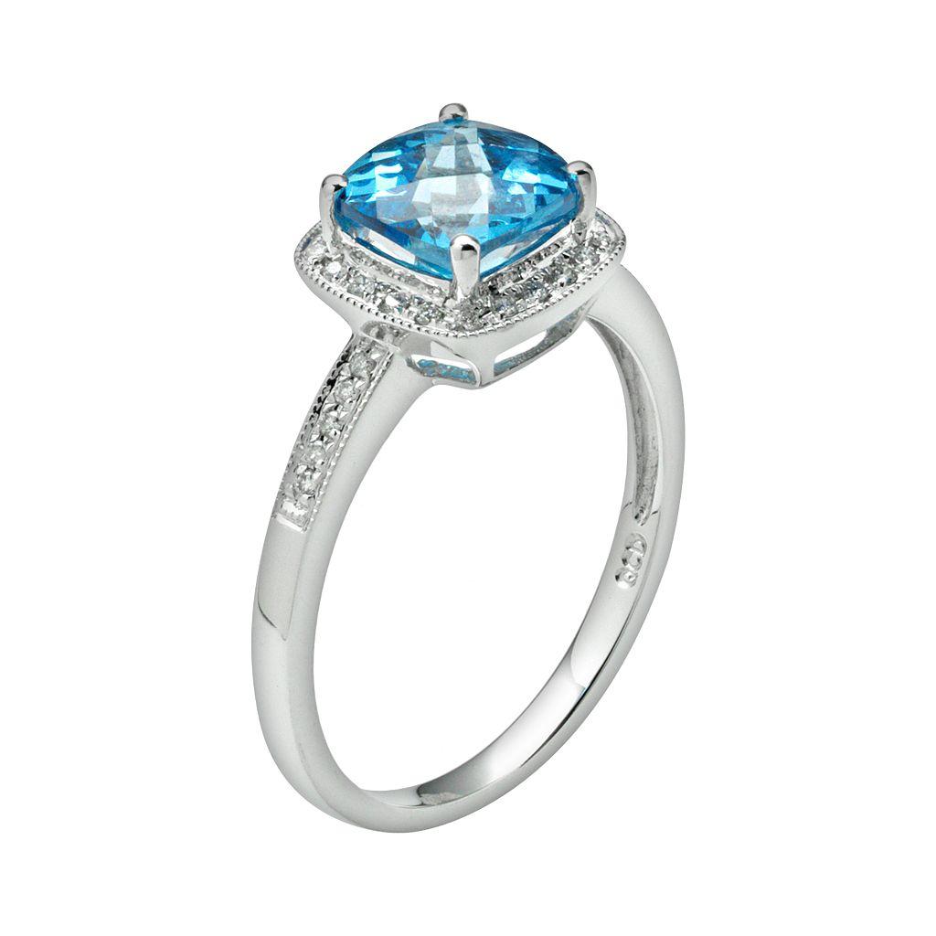 14k White Gold 1/8-ct. T.W. Diamond and Blue Topaz Frame Ring