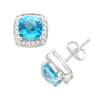 14k White Gold 1/7-ct. T.W. Diamond & Blue Topaz Frame Stud Earrings