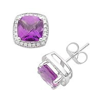 14k White Gold 1/7-ct. T.W. Diamond & Amethyst Frame Stud Earrings
