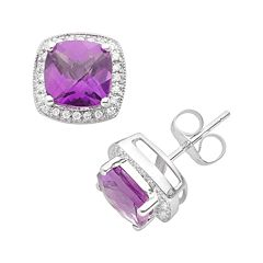 14k White Gold 1/7 ctT.W. Diamond & Amethyst Frame Stud Earrings