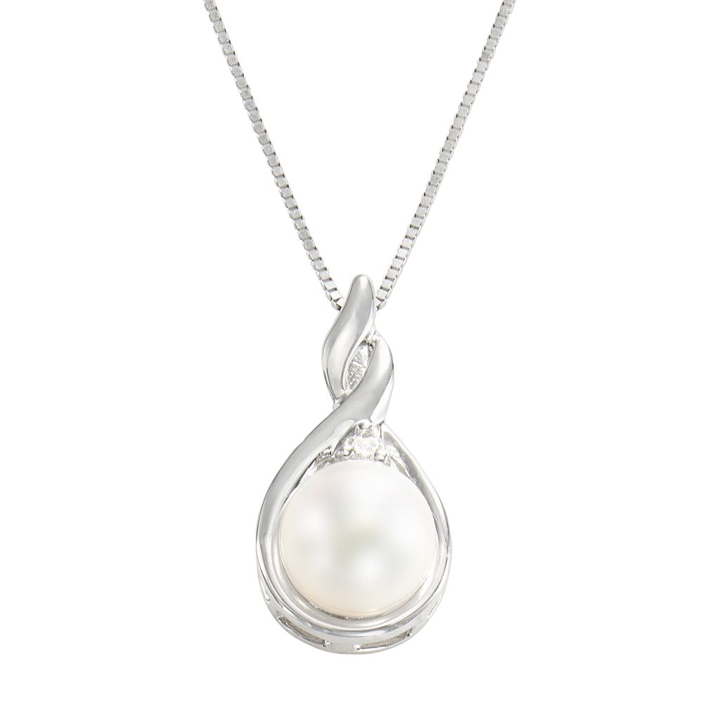 14k White Gold Cultured Pearl & Diamond Accent Teardrop Pendant
