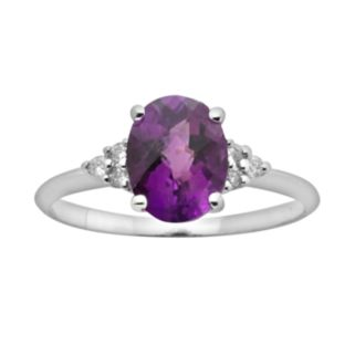 10k White Gold Amethyst and Diamond Accent Ring