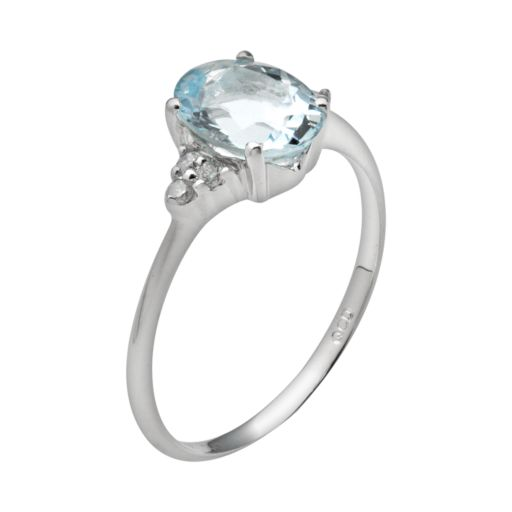 10k White Gold Aquamarine & Diamond Accent Ring