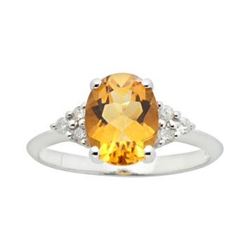 10k White Gold Citrine & Diamond Accent Ring
