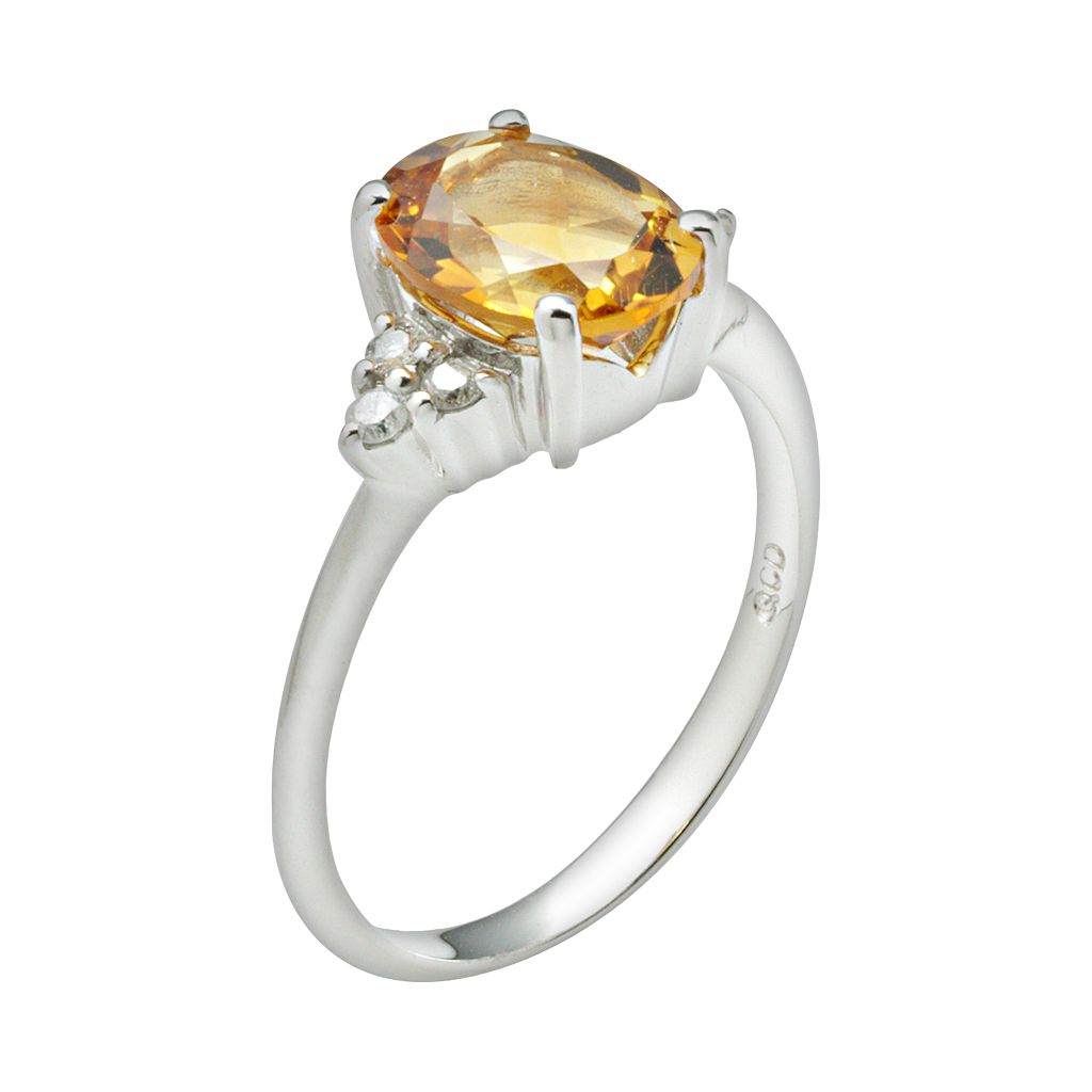 10k White Gold Citrine and Diamond Accent Ring