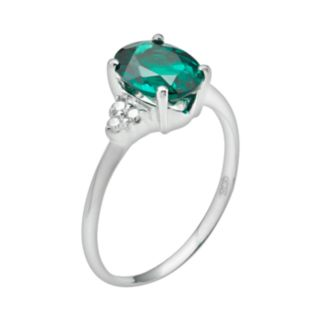 10k White Gold Lab-Created Emerald and Diamond Accent Ring
