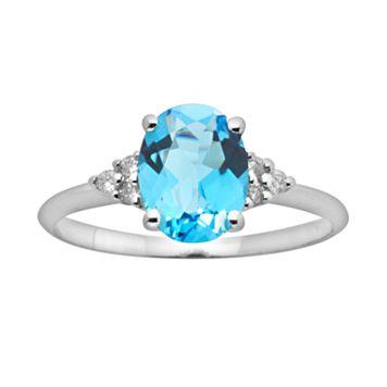 10k White Gold Blue Topaz & Diamond Accent Ring