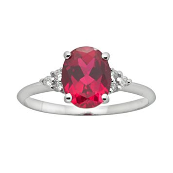 10k White Gold Lab-Created Ruby & Diamond Accent Ring