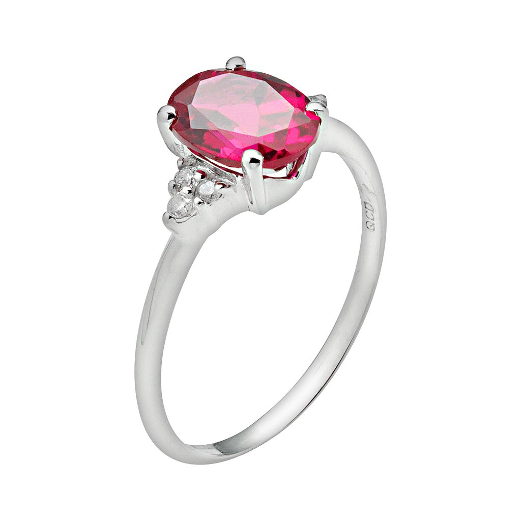 10k White Gold Lab-Created Ruby and Diamond Accent Ring