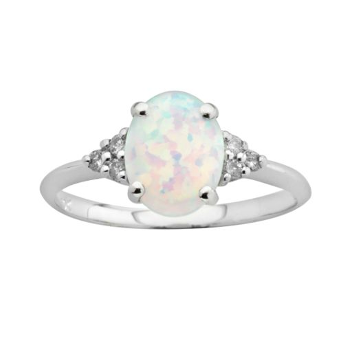10k White Gold Lab-Created Opal and Diamond Accent Ring