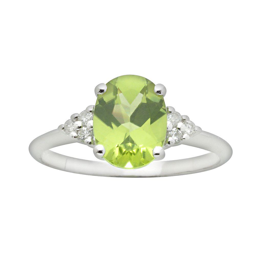 10k White Gold Peridot & Diamond Accent Ring