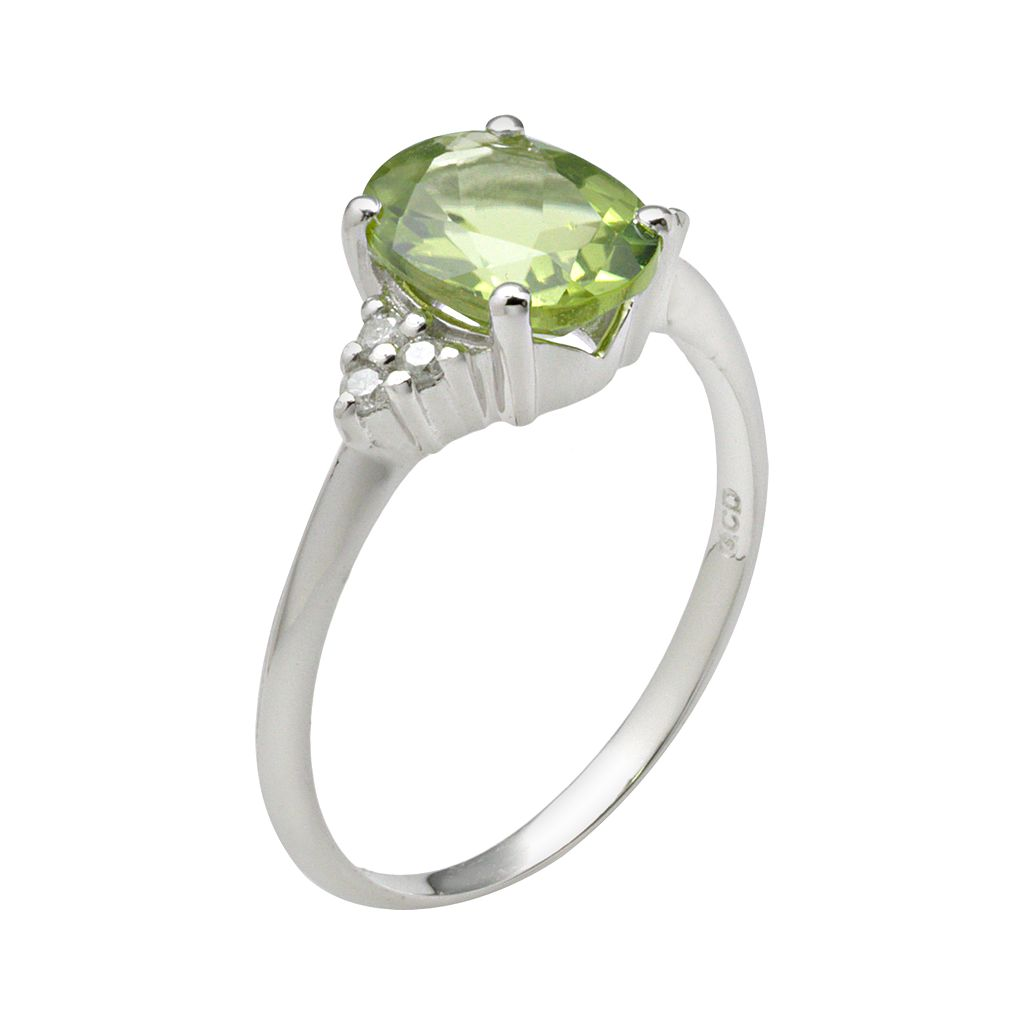 10k White Gold Peridot and Diamond Accent Ring