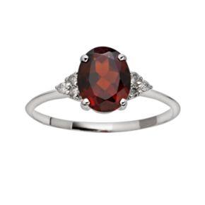 10k White Gold Garnet and Diamond Accent Ring