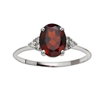 10k White Gold Garnet & Diamond Accent Ring