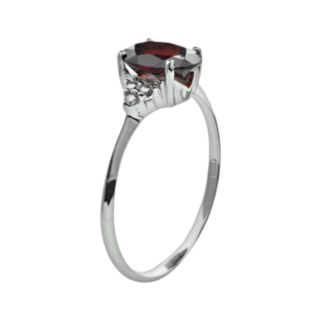 10k White Gold Garnet and Diamond Accent Ring