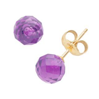 14k Gold Amethyst Ball Stud Earrings