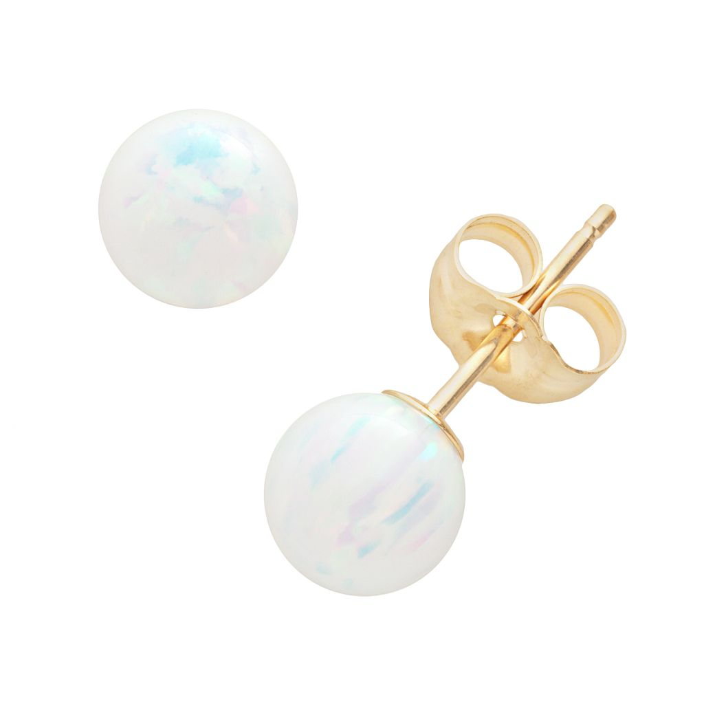 14k Gold Lab-Created Opal Ball Stud Earrings