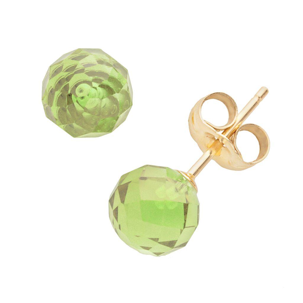 14k Gold Peridot Ball Stud Earrings
