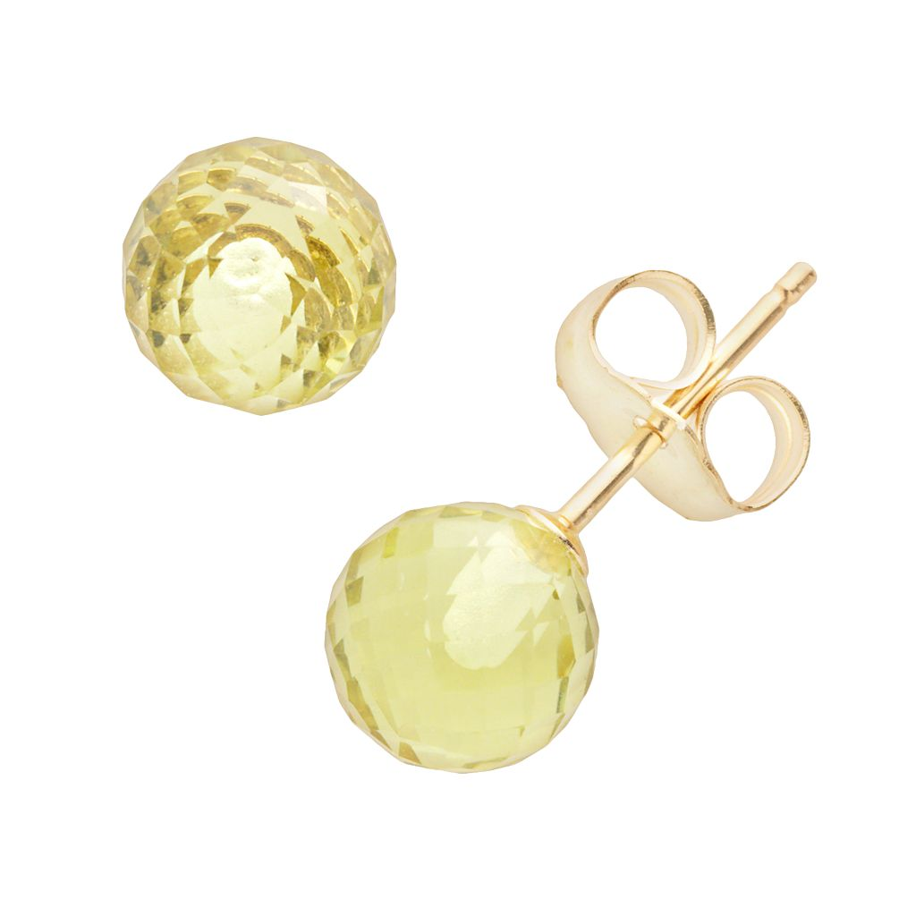 14k Gold Lemon Quartz Ball Stud Earrings