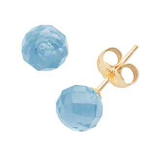 14k Gold Blue Topaz Ball Stud Earrings
