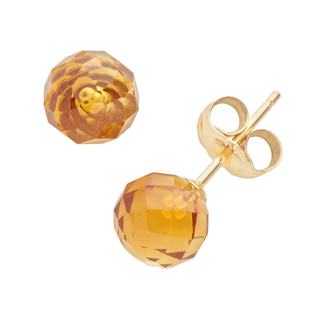 14k Gold Citrine Ball Stud Earrings