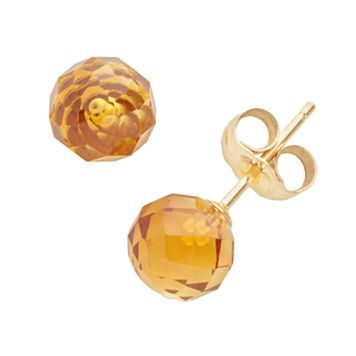 14k Gold Citrine Ball Stud Earrings