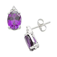 10k White Gold Amethyst & Diamond Accent Stud Earrings
