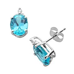 10k White Gold Blue Topaz & Diamond Accent Stud Earrings