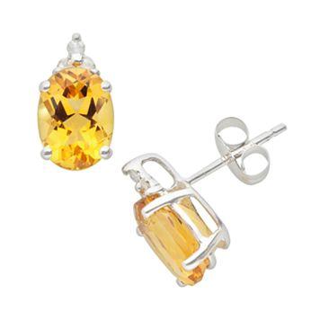 10k White Gold Citrine & Diamond Accent Stud Earrings
