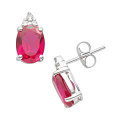 10k White Gold Lab-Created Ruby & Diamond Accent Stud Earrings