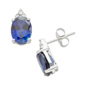 10k White Gold Lab-Created Sapphire and Diamond Accent Stud Earrings