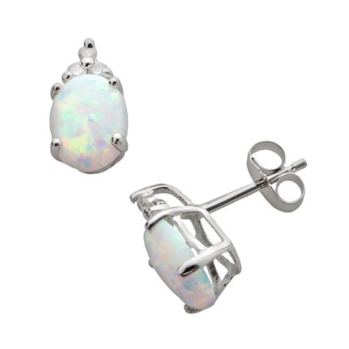 10k White Gold Lab-Created Opal & Diamond Accent Stud Earrings
