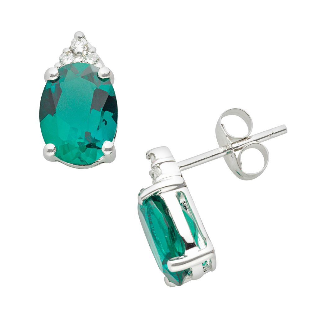 10k White Gold Lab-Created Emerald & Diamond Accent Stud Earrings