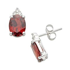 10k White Gold Garnet & Diamond Accent Stud Earrings